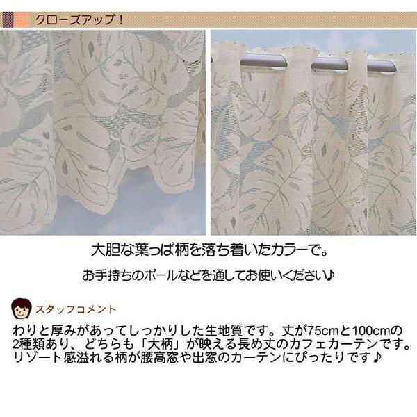 カフェカーテン おしゃれ レース 切り売り フィーユ 13878 グリーン 丈100cm 10cm単位|uedakaya|03