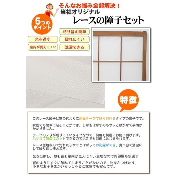 メール便 対応可 レース障子 昼も夜も見えにくいタイプ 約98×200cm 2枚組 障子 張替え 破れない障子 レース生地 障子紙の代わり uedakaya 02
