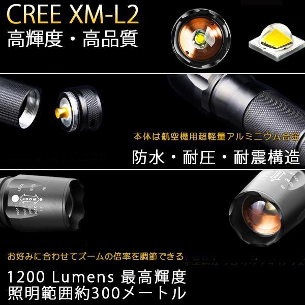懐中電灯 アメリカ軍隊が使う 丈夫 防水 CREE XM-L2 高性能 軽量 LEDライト|ufo-japan|02