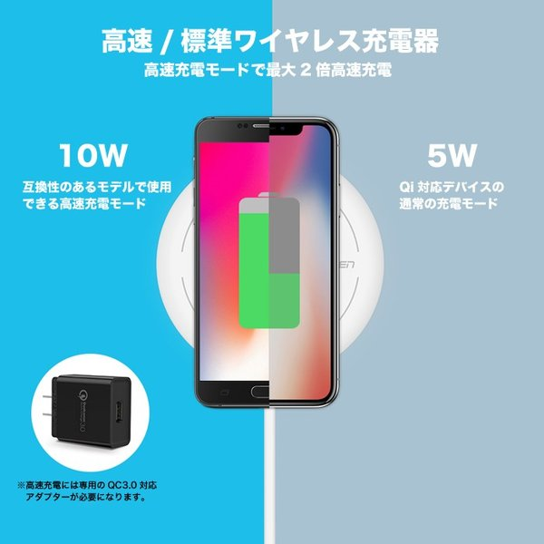 Qi ワイヤレス充電器 iPhone8 iPhoneX 対応 無線充電器 置くだけ galaxys8 android 1年保証 CD171 KON|ugreen-oaplaza|07