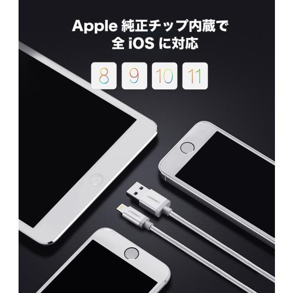 ライトニングケーブル iPhone Apple認証 充電 MFi lightning アイフォンXS XR X 8 7 7plus SE 充電器 us199 ポイント消化 ugreen-oaplaza 02