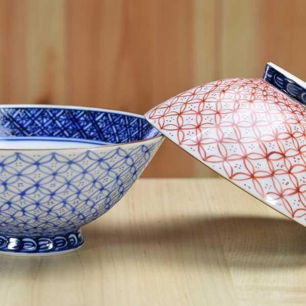 清水焼 京焼 組飯碗 青赤七宝 京都の高級 手作り 和食器 茶碗 お茶碗 来客用に|ujichaen