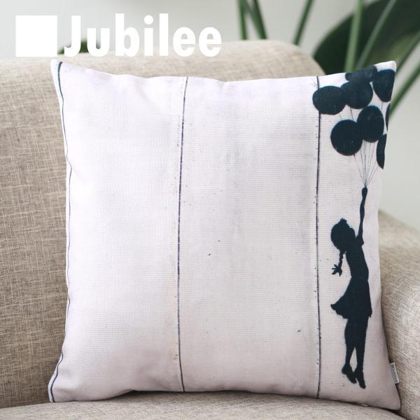 バンクシー Banksy クッションカバー Cushion Cover 北欧デザイン 45×45cm 送料無料 リネン 天然の麻で出来たハンドメイド バルーンガール2