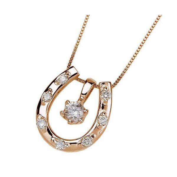 ダイヤモンドネックレス K18ピンクゴールドホースシューダイヤペンダント (送料無料)|ukigoods