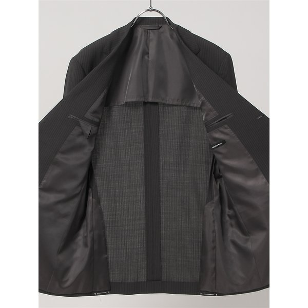 2パンツスーツ/メンズ/春夏/ツーパンツ/BASIC 3つボタンスーツ シャドーストライプ TR-12 チャコールグレー|uktsc|05