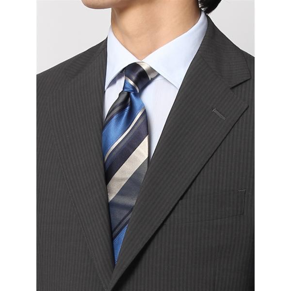 2パンツスーツ/メンズ/春夏/ツーパンツ/BASIC 3つボタンスーツ シャドーストライプ TR-12 チャコールグレー|uktsc|06