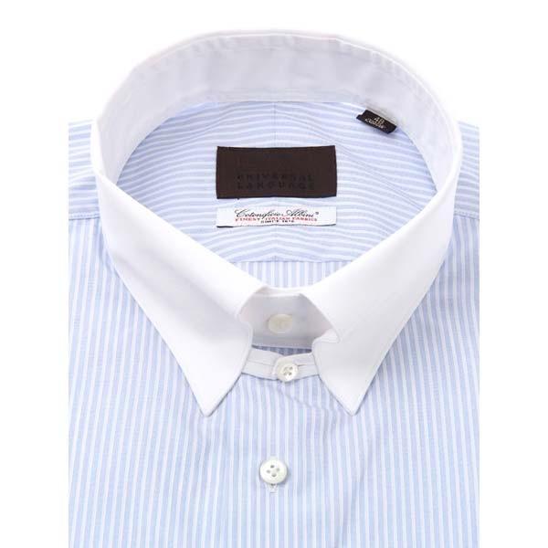 ドレスシャツ/長袖/メンズ/クレリック&タブカラードレスシャツ ストライプ /Fabric by Albini/ ホワイト×サックスブルー|uktsc|02