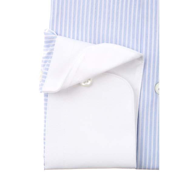 ドレスシャツ/長袖/メンズ/クレリック&タブカラードレスシャツ ストライプ /Fabric by Albini/ ホワイト×サックスブルー|uktsc|03