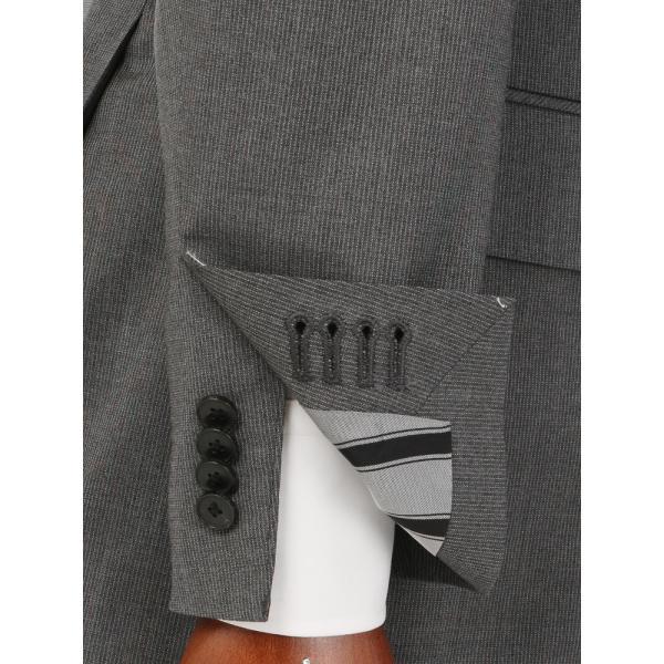 2パンツスーツ/メンズ/春夏/ツーパンツ・ICE SENSE/3つボタンスーツ ピンストライプ TR-12 ミディアムグレー×ライトグレー|uktsc|06