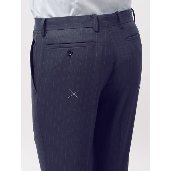 2パンツスーツ/メンズ/通年/ツーパンツ/FIT 2つボタンスーツ ピンストライプ CH-14 ネイビー×ブルー|uktsc|09