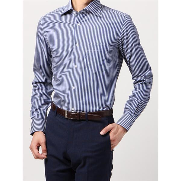 ドレスシャツ/長袖/メンズ/ANTONIO LAVERDA/ワイドカラードレスシャツ ストライプ 〔Easy Care〕 ネイビー×ホワイト|uktsc