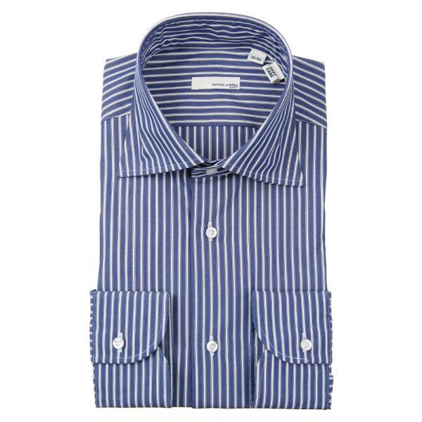 ドレスシャツ/長袖/メンズ/ANTONIO LAVERDA/ワイドカラードレスシャツ ストライプ 〔Easy Care〕 ネイビー×ホワイト|uktsc|02