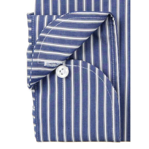 ドレスシャツ/長袖/メンズ/ANTONIO LAVERDA/ワイドカラードレスシャツ ストライプ 〔Easy Care〕 ネイビー×ホワイト|uktsc|04
