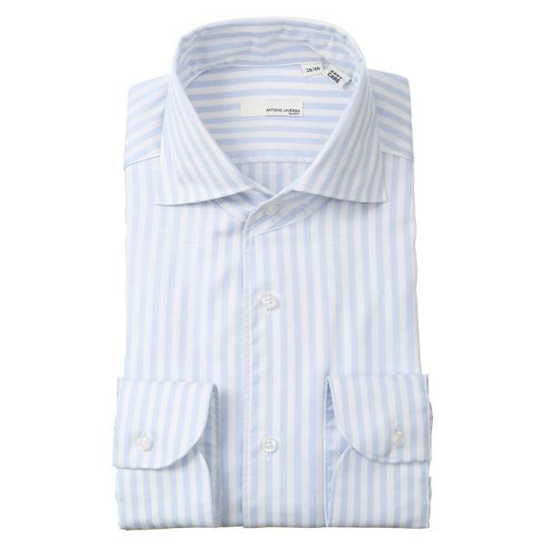 ドレスシャツ/長袖/メンズ/ANTONIO LAVERDA/ワンピースカラードレスシャツ ストライプ 〔Easy Care〕 サックスブルー×ホワイト|uktsc|02