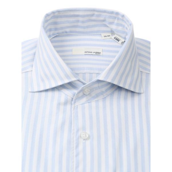 ドレスシャツ/長袖/メンズ/ANTONIO LAVERDA/ワンピースカラードレスシャツ ストライプ 〔Easy Care〕 サックスブルー×ホワイト|uktsc|03