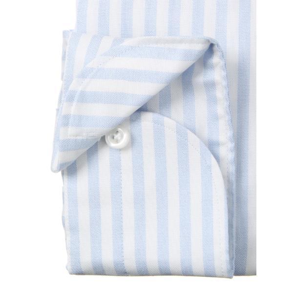 ドレスシャツ/長袖/メンズ/ANTONIO LAVERDA/ワンピースカラードレスシャツ ストライプ 〔Easy Care〕 サックスブルー×ホワイト|uktsc|04