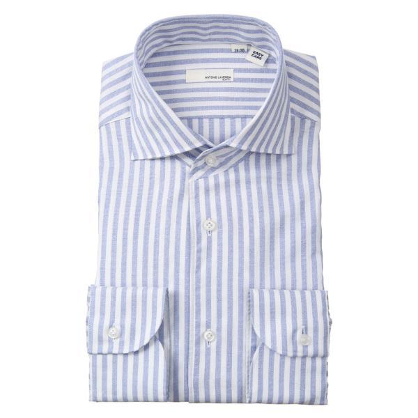 ドレスシャツ/長袖/メンズ/ANTONIO LAVERDA/ワンピースカラードレスシャツ ストライプ 〔Easy Care〕 ネイビー×ホワイト|uktsc|02