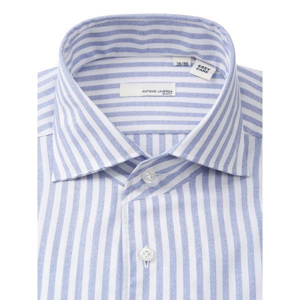 ドレスシャツ/長袖/メンズ/ANTONIO LAVERDA/ワンピースカラードレスシャツ ストライプ 〔Easy Care〕 ネイビー×ホワイト|uktsc|03