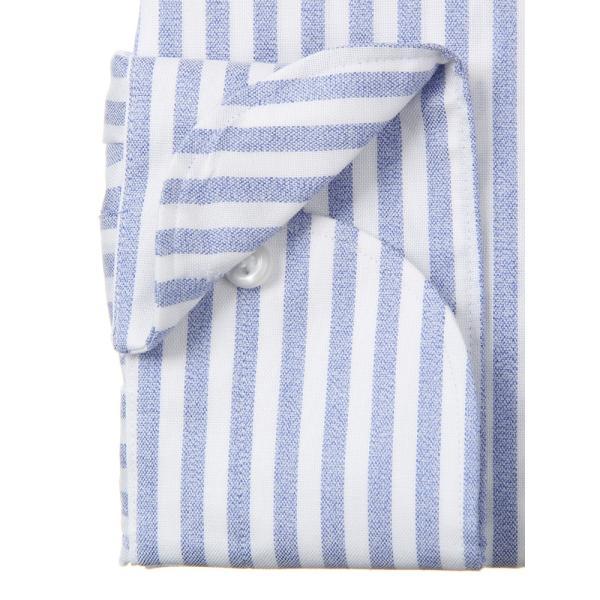 ドレスシャツ/長袖/メンズ/ANTONIO LAVERDA/ワンピースカラードレスシャツ ストライプ 〔Easy Care〕 ネイビー×ホワイト|uktsc|04