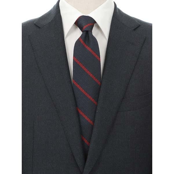 ネクタイ/レギュラータイ/メンズ/blazer's bank.com/ストライプ×織柄ネクタイ ネイビー系|uktsc