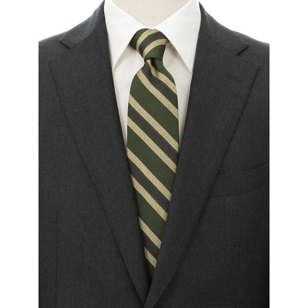 ネクタイ/レギュラータイ/メンズ/blazer's bank.com/ストライプ×織柄ネクタイ グリーン系|uktsc