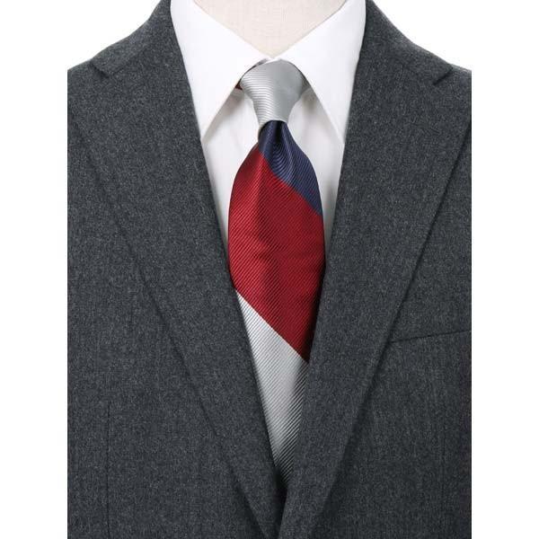 ネクタイ/レギュラータイ/メンズ/blazer's bank.com/ストライプ柄ネクタイ レッド系|uktsc