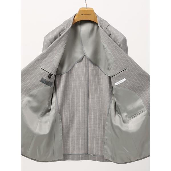 2パンツスーツ/メンズ/春夏/ツーパンツ・ICE SENSE/FIT 2つボタンスーツ チョークストライプ CH-14 ライトグレー×ホワイト|uktsc|05