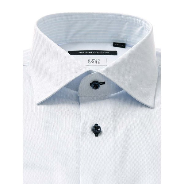 ドレスシャツ/長袖/メンズ/COOL MAX/ワイドカラードレスシャツ 織柄 〔EC・BASIC〕 サックスブルー|uktsc|02