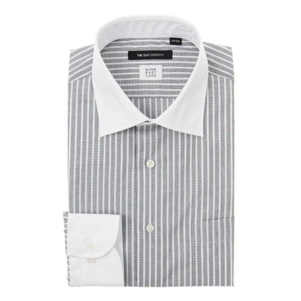 ドレスシャツ/長袖/メンズ/SUPER EASY CARE/クレリック&ワイドカラードレスシャツ〔EC・BASIC〕 チャコールグレー×ホワイト uktsc