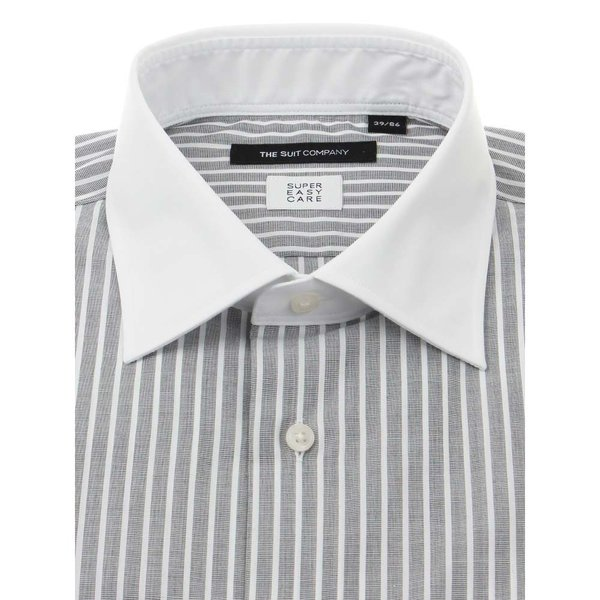 ドレスシャツ/長袖/メンズ/SUPER EASY CARE/クレリック&ワイドカラードレスシャツ〔EC・BASIC〕 チャコールグレー×ホワイト uktsc 02