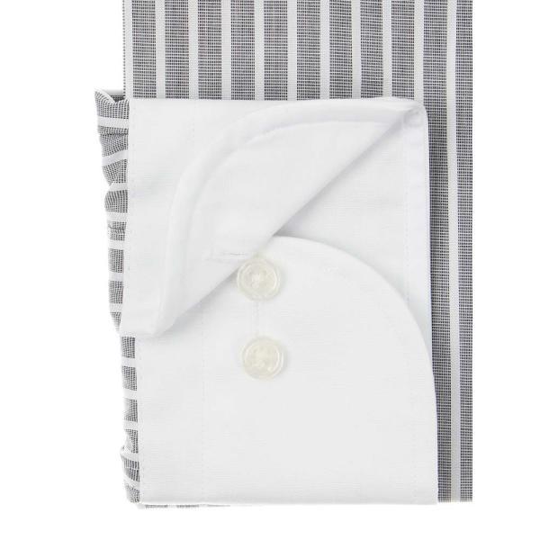 ドレスシャツ/長袖/メンズ/SUPER EASY CARE/クレリック&ワイドカラードレスシャツ〔EC・BASIC〕 チャコールグレー×ホワイト uktsc 03