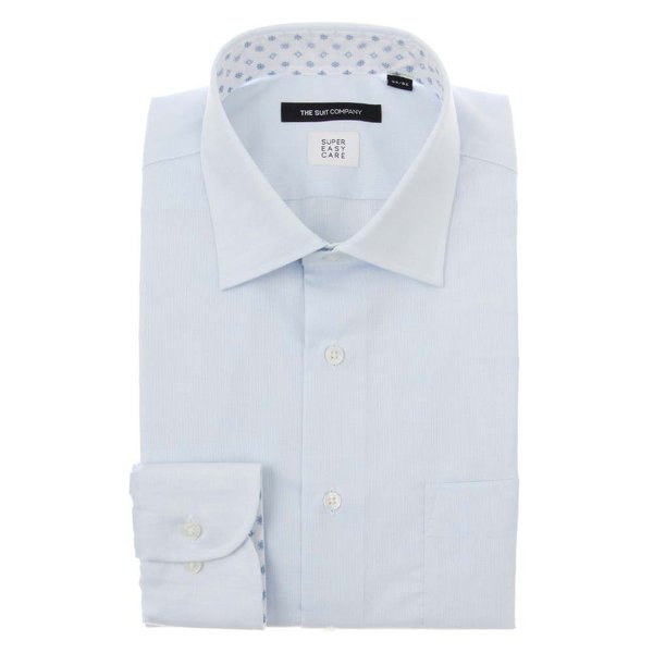 ドレスシャツ/長袖/メンズ/SUPER EASY CARE/ワイドカラードレスシャツ 織柄 〔EC・BASIC〕 サックスブルー|uktsc