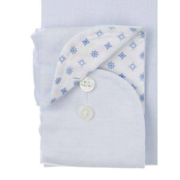 ドレスシャツ/長袖/メンズ/SUPER EASY CARE/ワイドカラードレスシャツ 織柄 〔EC・BASIC〕 サックスブルー|uktsc|03