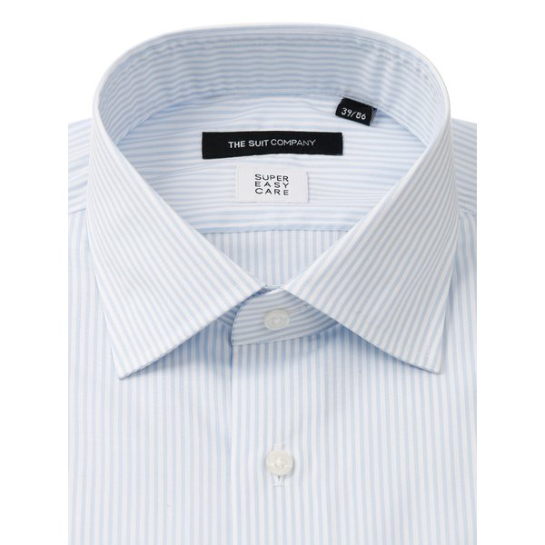 ドレスシャツ/長袖/メンズ/SUPER EASY CARE/ワイドカラードレスシャツ ストライプ 〔EC・BASIC〕 ブルー×ホワイト|uktsc|02