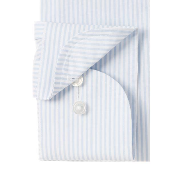ドレスシャツ/長袖/メンズ/SUPER EASY CARE/ワイドカラードレスシャツ ストライプ 〔EC・BASIC〕 ブルー×ホワイト|uktsc|03