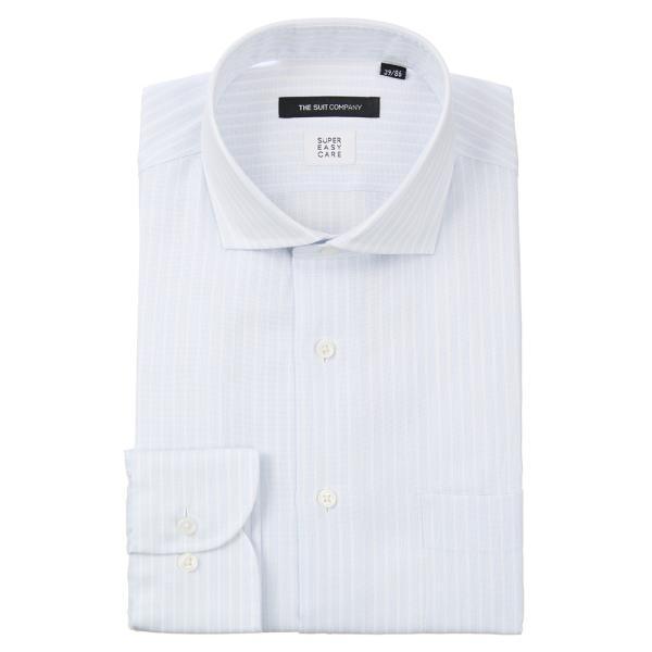 ドレスシャツ/長袖/メンズ/ICE COTTON/ホリゾンタルカラードレスシャツ ストライプ 〔EC・BASIC〕 サックスブルー×ホワイト uktsc