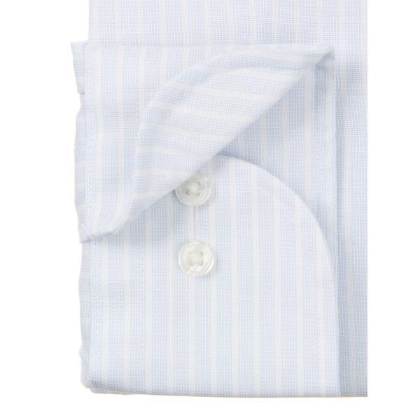ドレスシャツ/長袖/メンズ/ICE COTTON/ホリゾンタルカラードレスシャツ ストライプ 〔EC・BASIC〕 サックスブルー×ホワイト uktsc 03