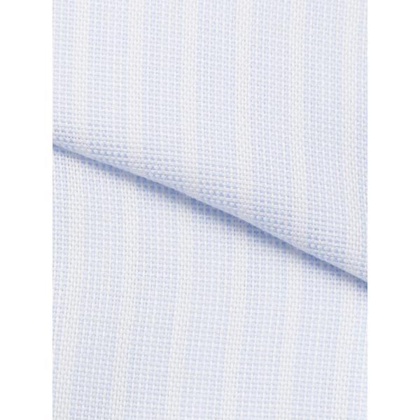 ドレスシャツ/長袖/メンズ/ICE COTTON/ホリゾンタルカラードレスシャツ ストライプ 〔EC・BASIC〕 サックスブルー×ホワイト uktsc 04