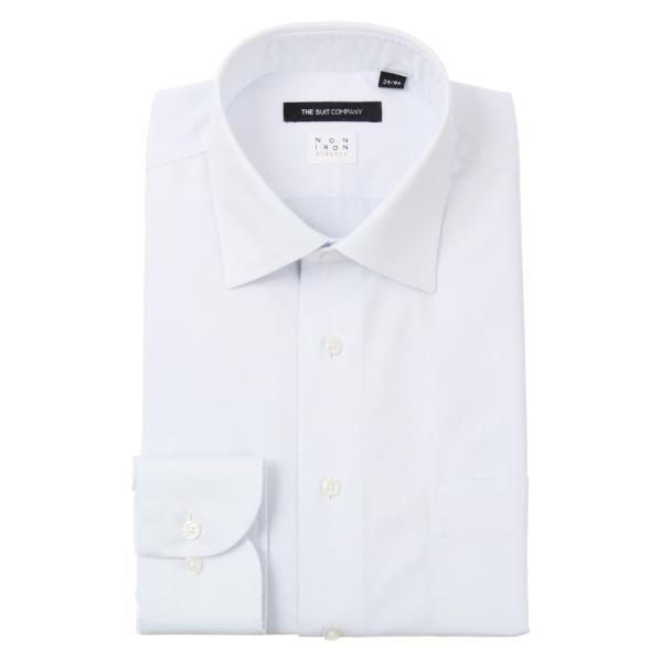 ドレスシャツ/長袖/メンズ/NON IRON STRETCH/ワイドカラードレスシャツ ピンドット 〔EC・BASIC〕 サックスブルー|uktsc