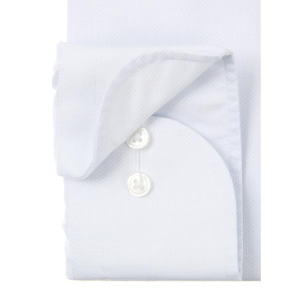 ドレスシャツ/長袖/メンズ/NON IRON STRETCH/ワイドカラードレスシャツ ピンドット 〔EC・BASIC〕 サックスブルー|uktsc|03