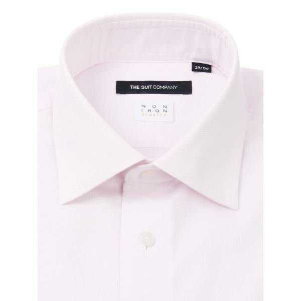 ドレスシャツ/長袖/メンズ/NON IRON STRETCH/ワイドカラードレスシャツ ピンドット 〔EC・BASIC〕 ピンク|uktsc|02