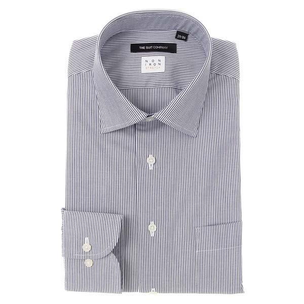 ドレスシャツ/長袖/メンズ/NON IRON STRETCH/ワイドカラードレスシャツ ストライプ 〔EC・BASIC〕 ネイビー×ホワイト uktsc