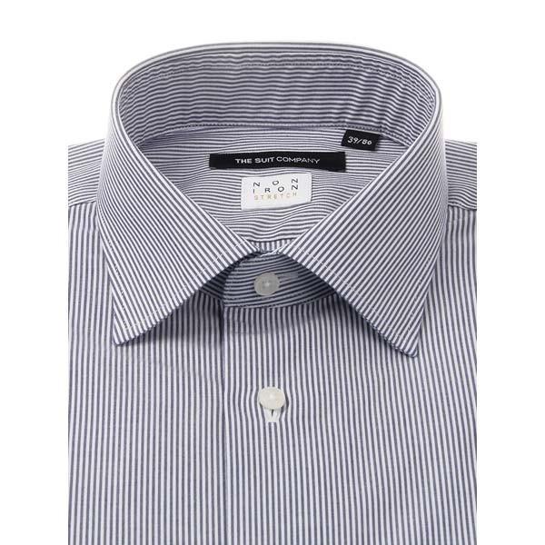 ドレスシャツ/長袖/メンズ/NON IRON STRETCH/ワイドカラードレスシャツ ストライプ 〔EC・BASIC〕 ネイビー×ホワイト uktsc 02