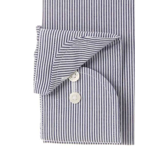 ドレスシャツ/長袖/メンズ/NON IRON STRETCH/ワイドカラードレスシャツ ストライプ 〔EC・BASIC〕 ネイビー×ホワイト uktsc 03