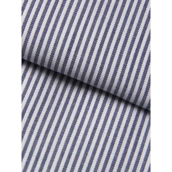 ドレスシャツ/長袖/メンズ/NON IRON STRETCH/ワイドカラードレスシャツ ストライプ 〔EC・BASIC〕 ネイビー×ホワイト uktsc 04