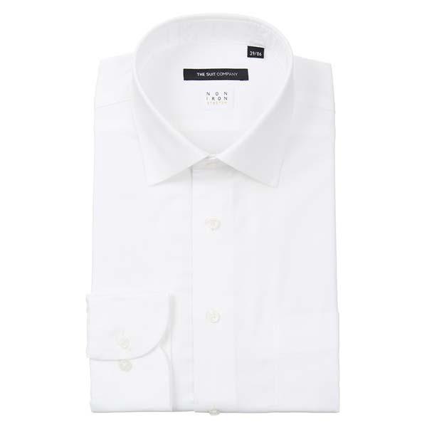 ドレスシャツ/長袖/メンズ/NON IRON STRETCH/ワイドカラードレスシャツ 織柄 〔EC・BASIC〕 ホワイト|uktsc