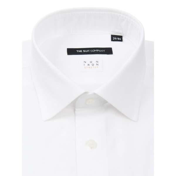 ドレスシャツ/長袖/メンズ/NON IRON STRETCH/ワイドカラードレスシャツ 織柄 〔EC・BASIC〕 ホワイト|uktsc|02