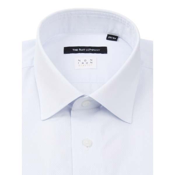 ドレスシャツ/長袖/メンズ/NON IRON STRETCH/ワイドカラードレスシャツ 織柄 〔EC・BASIC〕 サックスブルー|uktsc|02