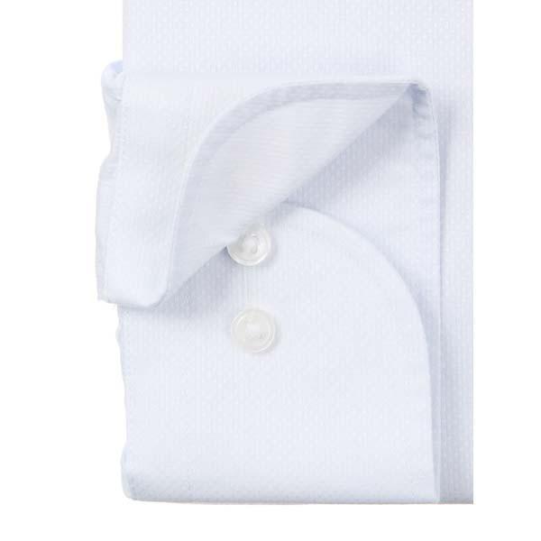 ドレスシャツ/長袖/メンズ/NON IRON STRETCH/ワイドカラードレスシャツ 織柄 〔EC・BASIC〕 サックスブルー|uktsc|03