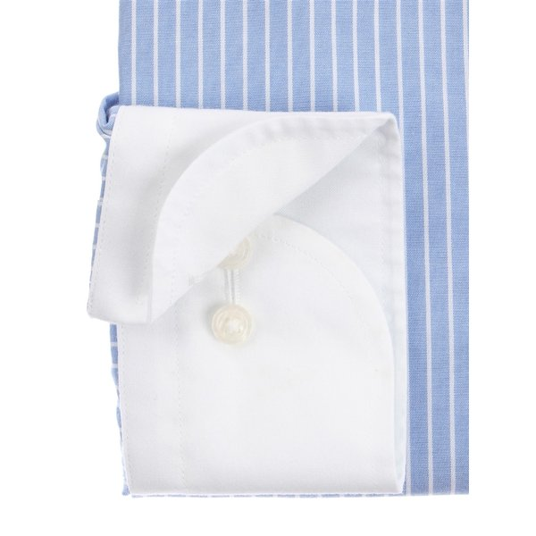 ドレスシャツ/長袖/メンズ/NON IRON STRETCH/クレリック&ワイドカラードレスシャツ 〔EC・BASIC〕 ブルー×ホワイト uktsc 03